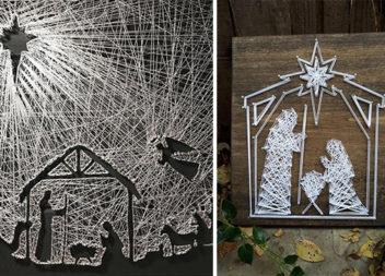 Стрінг-арт: різдвяні композиції (20 фото)