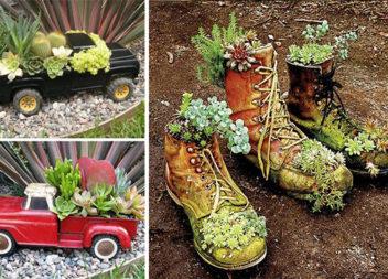 Використовуємо старі і непотрібні речі для декору саду. 55 ідей квітників