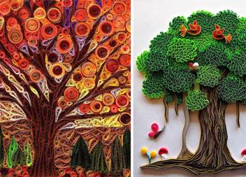 Техніка квілінг: чарівні дерева зі смужок паперу (75 ідей)