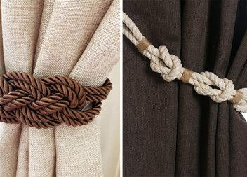 Мотузки і канати: ідеї та майстер-клас незвичайних прихватів для штор