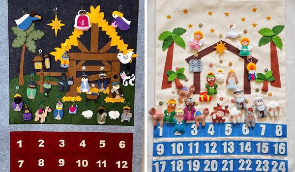 Різдвяний календар із тканини та фетру. Створюємо шопку з дітками