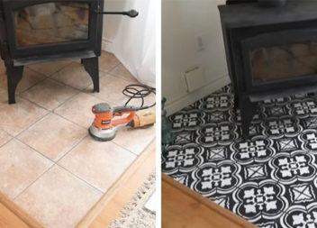 Як оновити керамічну плитку за допомогою фарби та трафарету