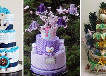 Красивий подарунок для немовляти: торти із памперсів та дитячих аксесуарів (24 фото)