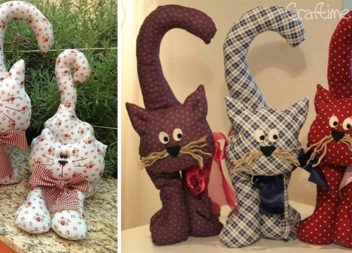 Ідеї та викрійки котиків із текстилю