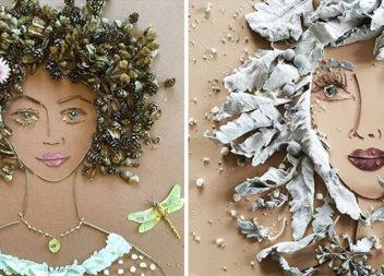 Дивовижні портрети із сухого листя та квітів