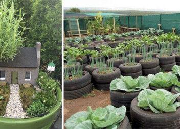 Використовуємо старі автомобільні покришки для декору саду та городу (20 ідей)
