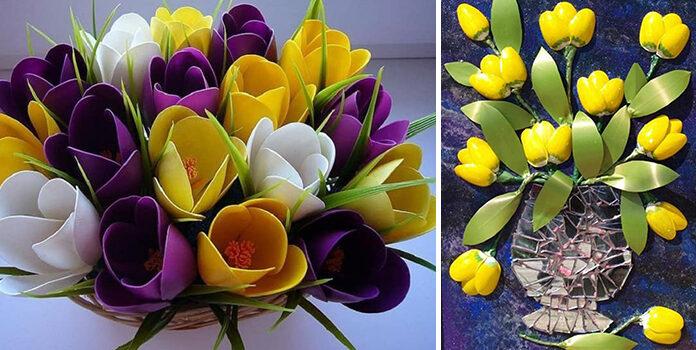 Квіткові композиції із пластикових ложок (25 ідей для творчості)