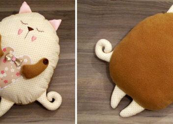 """Неймовірно мила подушка """"Кошеня-сплюх"""". Покроковий майстер-клас з викрійками"""