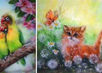 Вовняна акварель: чудові картини без фарб і пензлів