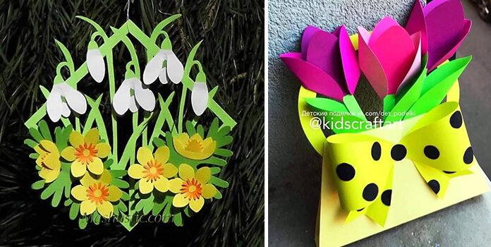 Паперові аплікації та листівки: творимо весняну красу самотужки (22 варіанти)