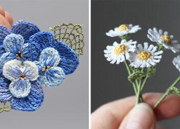Чудова добірка в'язаних гачком мініатюрних квітів зі схемами та відео майстер-класами