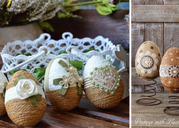 Великодній декор: декоративні яйця із мотузкою та мереживом. Ідеї