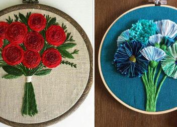 Неймовірна вишивка: об'ємні квіти на п'яльцях