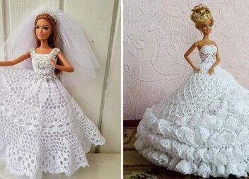 Весільна сукня для Барбі самотужки (ідеї для в'язання гачком)