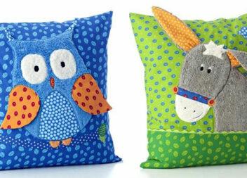 Дитячі подушки з красивими аплікаціями із клаптиків