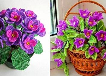 Квіти та вазони, виготовлені із бісеру (24 ідеї для натхнення)