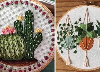 Незвична вишивка: вазони та кактуси