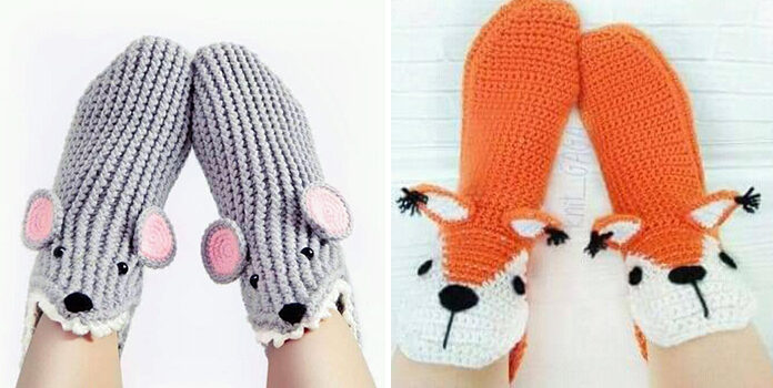 Щоб ніжки були в теплі: ідеї в'язаних шкарпеток та домашніх капців (35 фото)