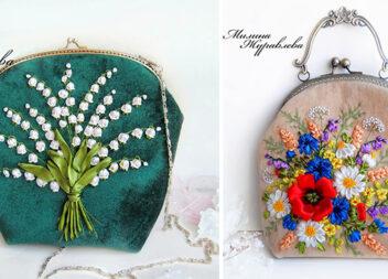 Неймовірна вишивка стрічками на гаманцях, клатчах та чохлах для телефонів