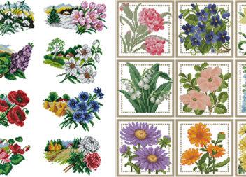 Квітковий календар: вишиваємо хрестиком круглий рік (2 варіанти календарів + схеми)