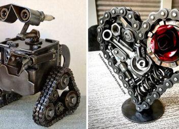 Мистецтво із металу: незвичні вироби із дроту, підшипників, ланцюгів та інших елементів