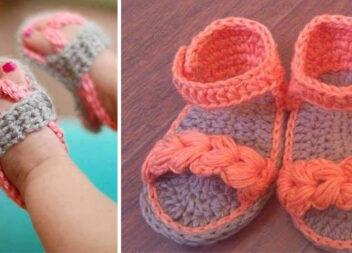 Маленькі в'язані сандалики для дитячих ніжок