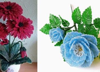 Квіткові композиції із бісеру: схеми, робочі моменти та готові вироби