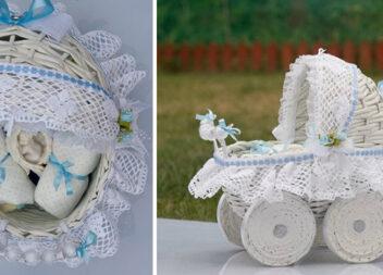 Плетемо декоративну дитячу коляску з газетних трубочок: детальний майстер-клас