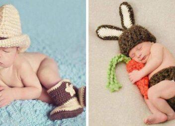 Оригінальні в'язані дитячі костюмчики для красивої фотосесії