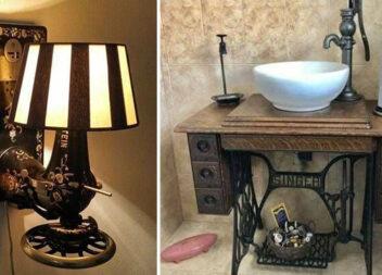 Як використати стару швейну машинку в інтер'єрі оселі: 24 фото ідеї
