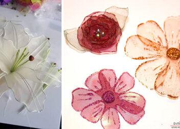 Створюємо витончені легкі квіти із органзи та капрону: 2 майстер-класи