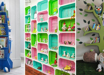 Оригінальні полиці для іграшок та книг в дитячу кімнату