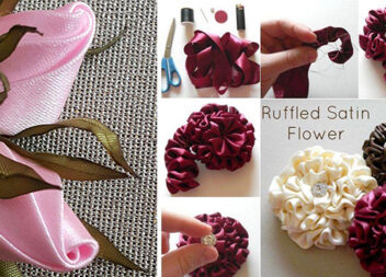 Створюємо квіти із атласної стрічки. Покрокові фото