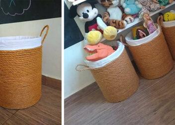 Як зробити кошик для дитячих іграшок із 10 літрової пластикової бутлі з-під води. Майстер-клас