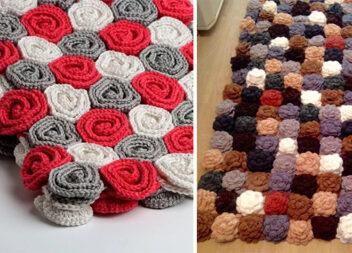 М'який килимок з трояндочок із залишків пряжі. Схема + ідеї + відео