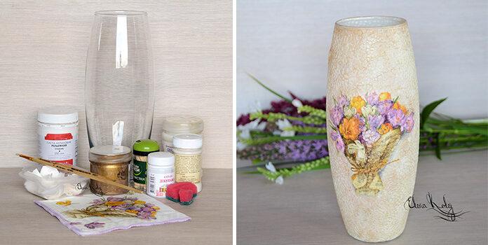 Як створити шикарну вазу методом декупажу. Фото кроки