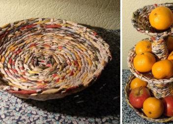 Плетемо фруктовницю із газетних трубочок