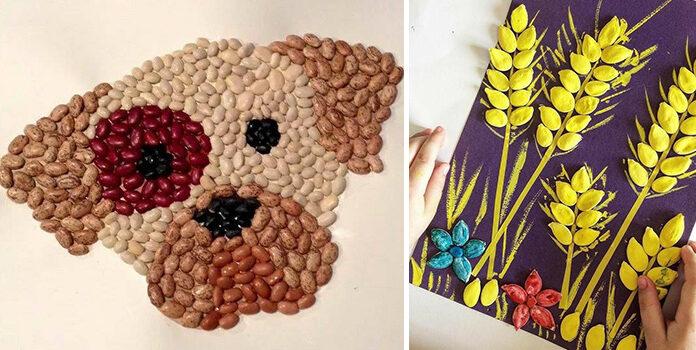 Добірка красивих композицій із насіння, бобових, круп та зернят