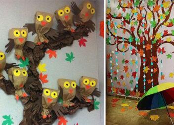 Осінні декорації із паперу. Ідеї для шкіл та садочків