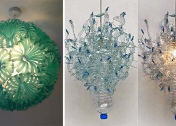 Незвичні абажури із пластикових пляшок та ложок (15 фото)