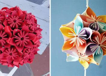 Паперові квіти в техніці кандзасі
