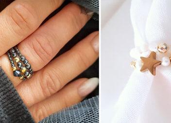 Новий тренд: персні із дрібних бусинок та натурального каміння
