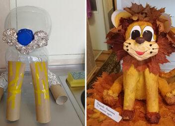 Робимо левеня із пластикових пляшок, паперових втулок та осіннього листя