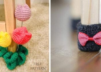 """В'яжемо """"носочки"""" на ніжки меблів, щоб не подряпалась підлога ;)"""