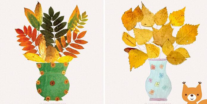 Дитяча творчість. Створюємо натюрморт із осінніх листочків