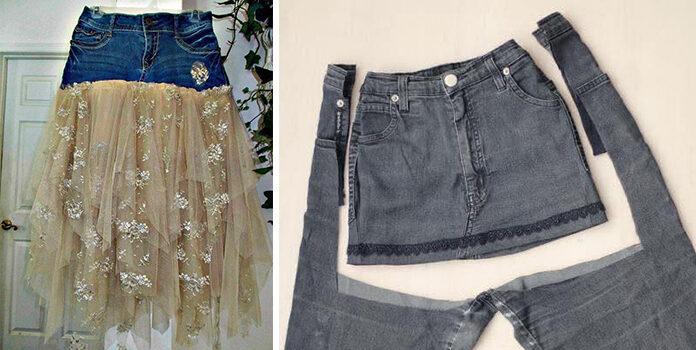Переробляємо джинсові штани в... спідницю (і не тільки)