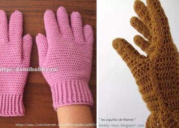 Два способи в'язання гачком осінніх рукавичок