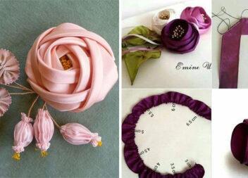 Формуємо квіточки із стрічок для декору речей