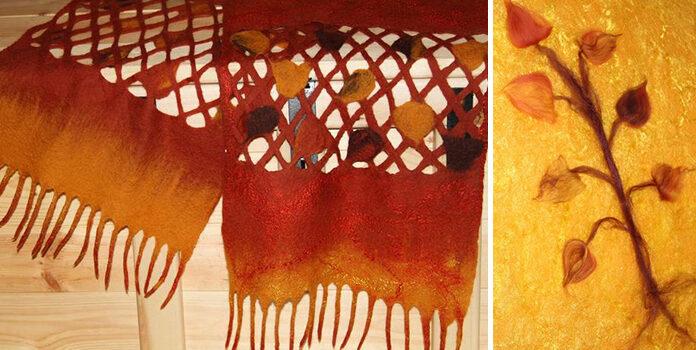 Створюємо осінній шалик-павутинку «Листопад» в техніці мокрого валяння