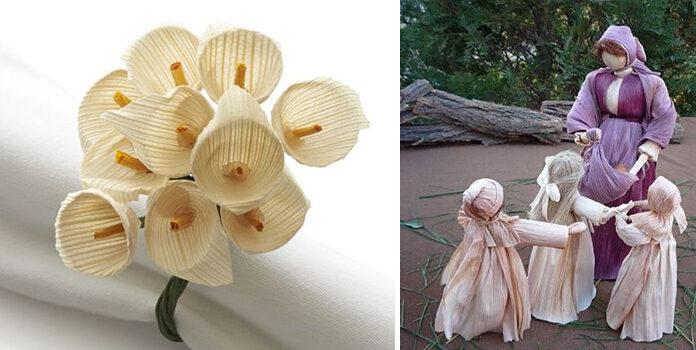 Як використати листя кукурудзи у декорі: лялечки, віночки, квіти та інше